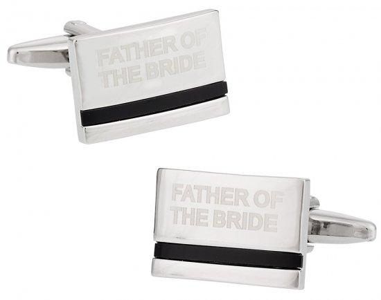Father of the Bride Laser Etched Onyx Silver Wedding Cufflinks