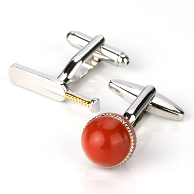 Cricket Red Ball and Silver Bat Cufflinks