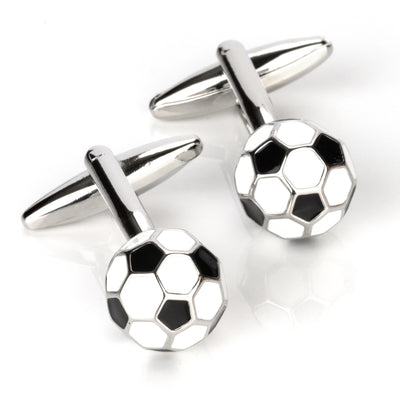 3D Black and White Soccer Ball Football Cufflinks