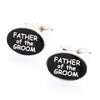 Father of the Groom Black and Silver Wedding Cufflinks Round