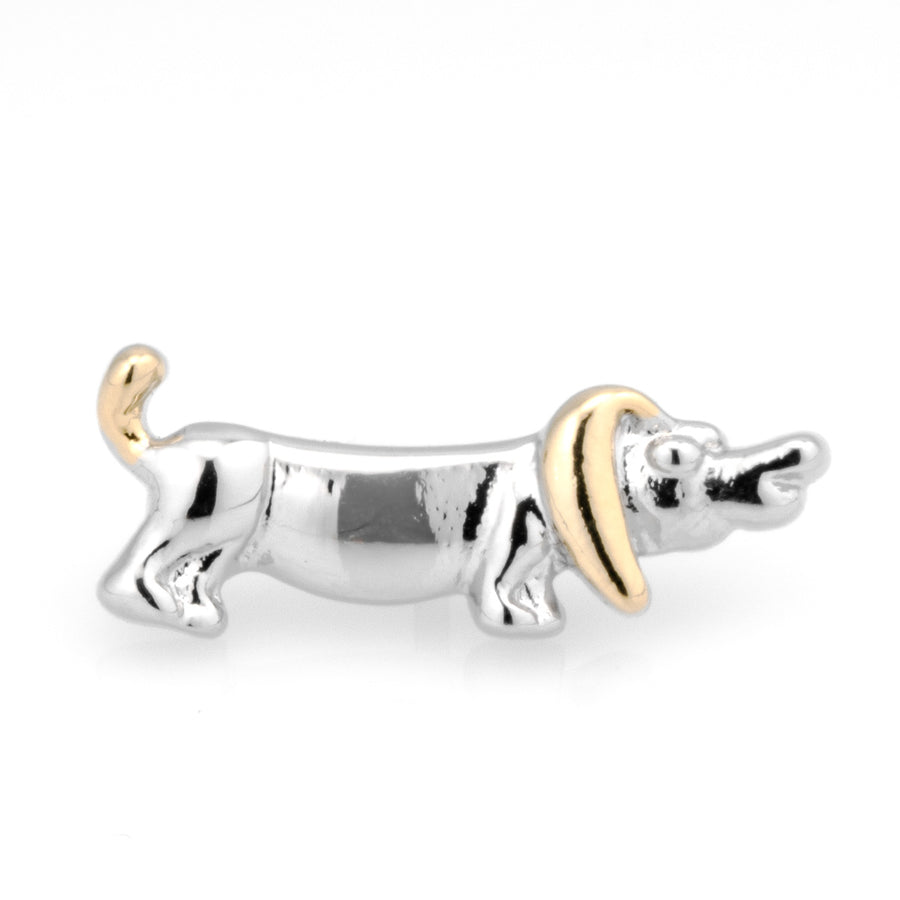Sausage Dog Lapel Pin in Gold and Silver