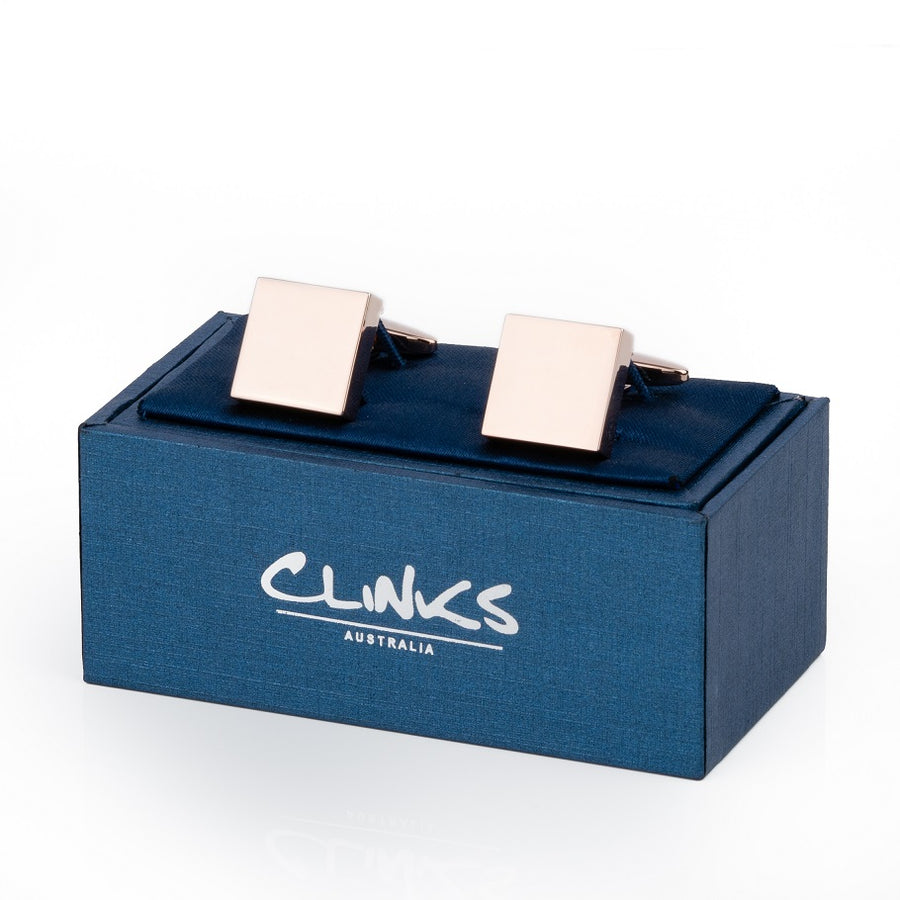 Rose Gold Square Engravable Cufflinks