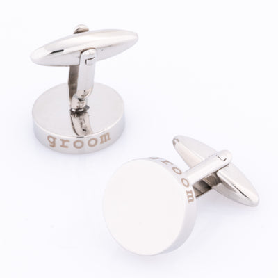 Groom Laser Etched Round Engravable Wedding Cufflinks