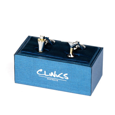 Silver/Gold Cocktail Glass & Shaker Cufflinks