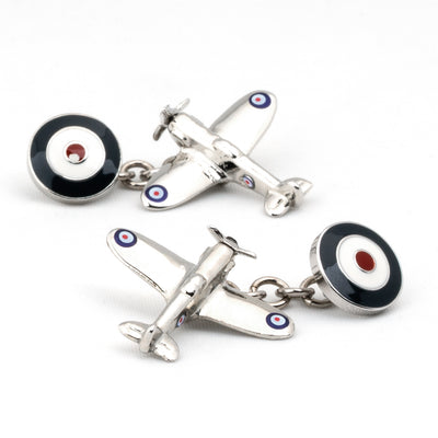 Spitfire Plane Cufflinks with Chain and Roundel