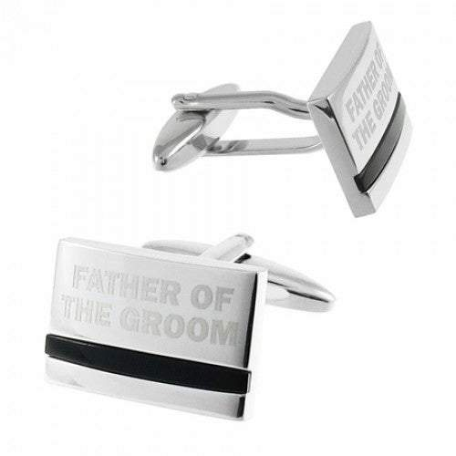 Father of the Groom Laser Etched Onyx Silver  Wedding Cufflinks