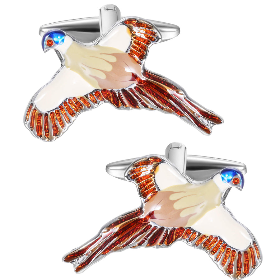 Flying Pheasant Enamel Cufflinks