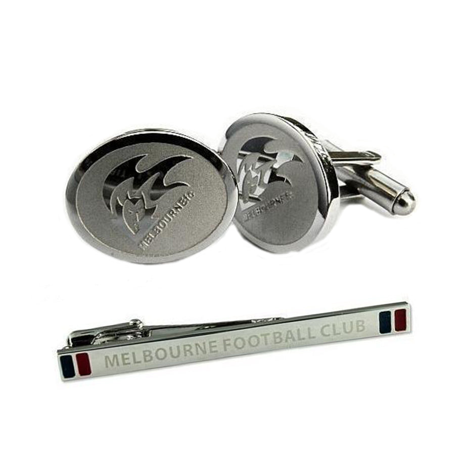 AFL Melbourne Demons Cufflinks & Tie Bar Set