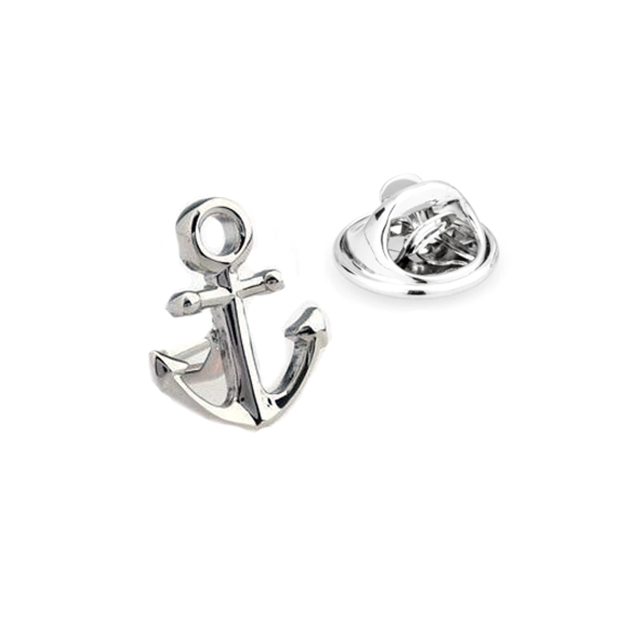 Shiny Silver Anchor Lapel Pin