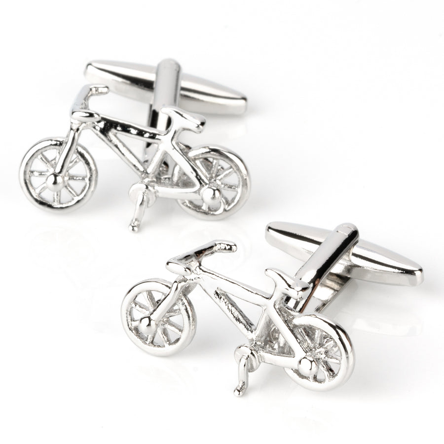 Silver Racing Bike Bicycle Cufflinks