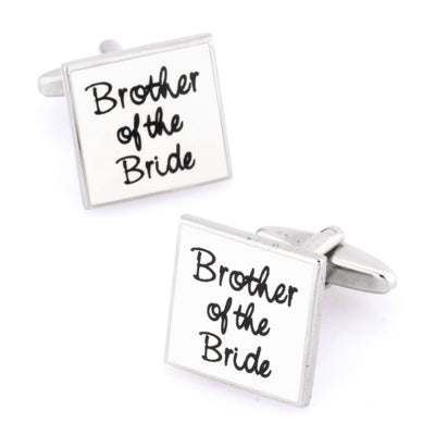 Brother of the Bride White Wedding Cufflinks
