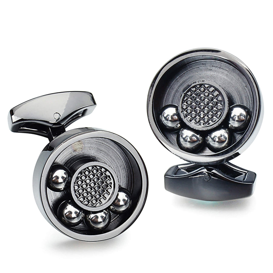 Moving  Ball Bearing Cufflinks Gunmetal