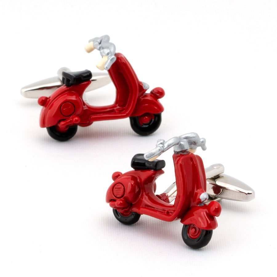 Red 3D Vespa Scooter Cufflinks