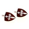 Cross Shield Stainless Steel and Wood Cufflinks