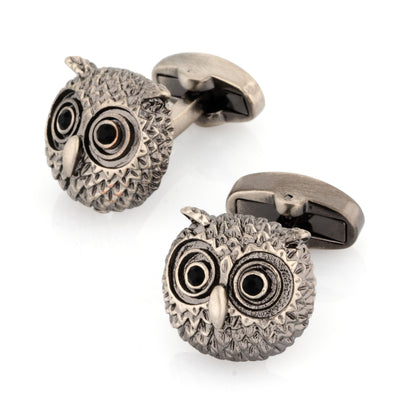 Silver Textured Owl Head Cufflinks with Black Crystal Eyes