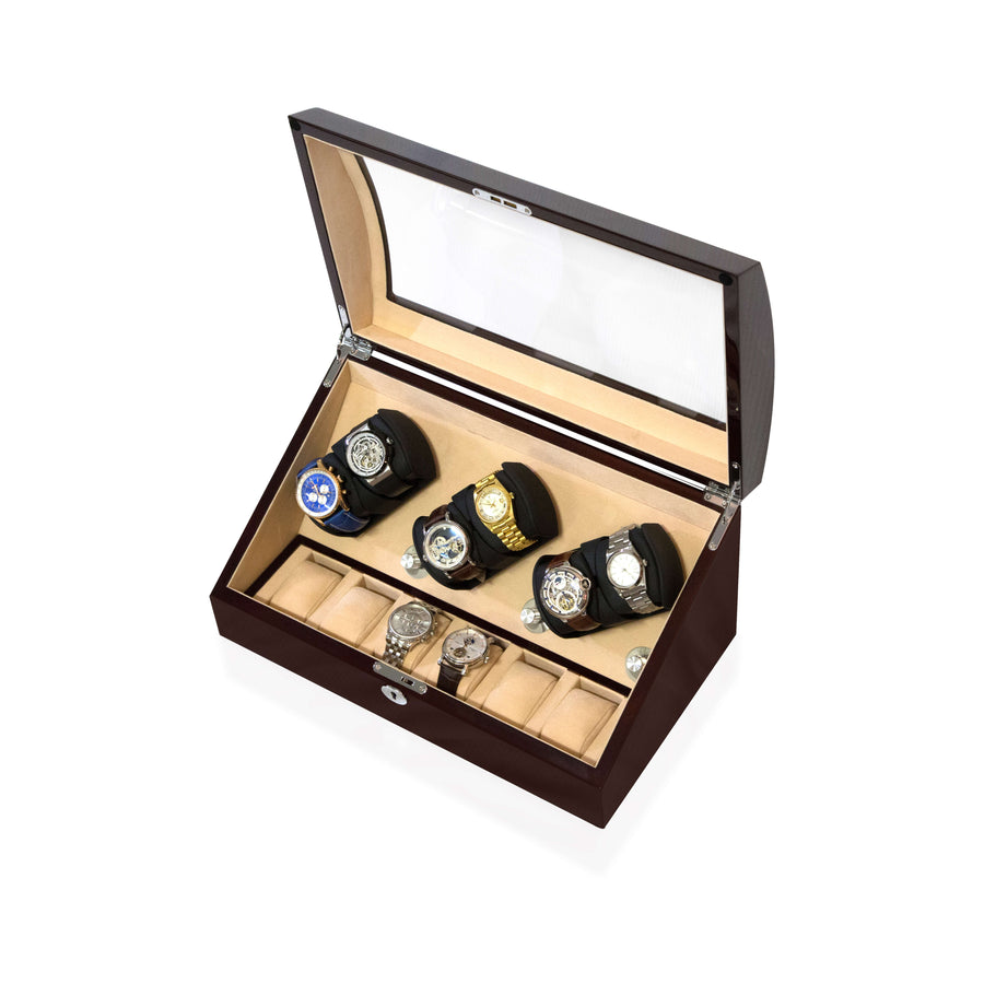 Watch Winder Box 6 + 6 Watches in Mahogany