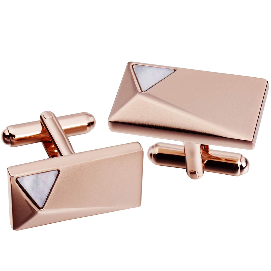 Rose Gold Peak with Mother of Pearl Cufflinks