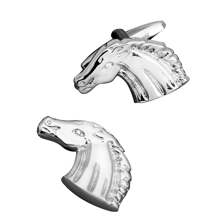 Shiny Silver Horse Head Cufflinks