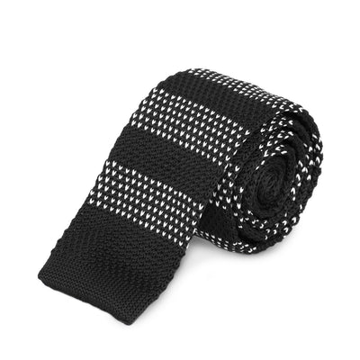 Black and White Stripe Knitted Tie