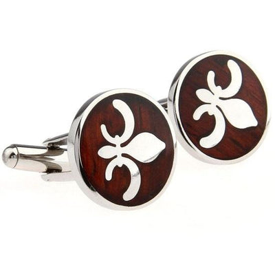 Fleur-De-Lis Cufflinks in Stainless Steel and Wood