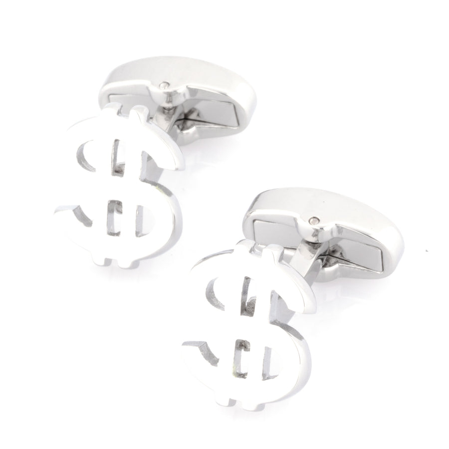 """$"" Silver Dollar Sign Cufflinks"