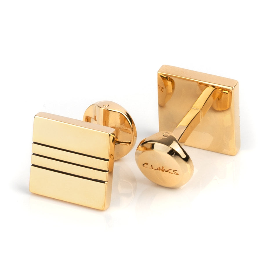 Classic Gold with Black Lines Cufflinks
