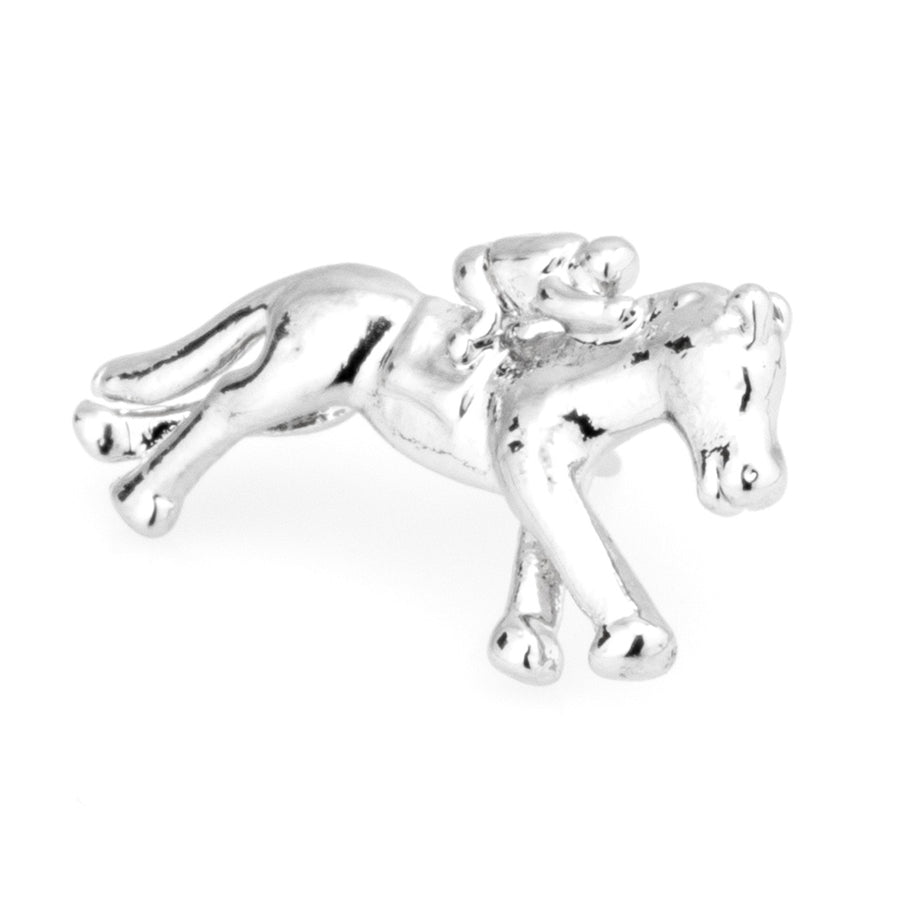 Horse and Jockey Lapel Pin Silver