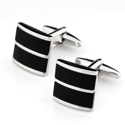 Dual Black Ice Cateye Silver Cufflinks