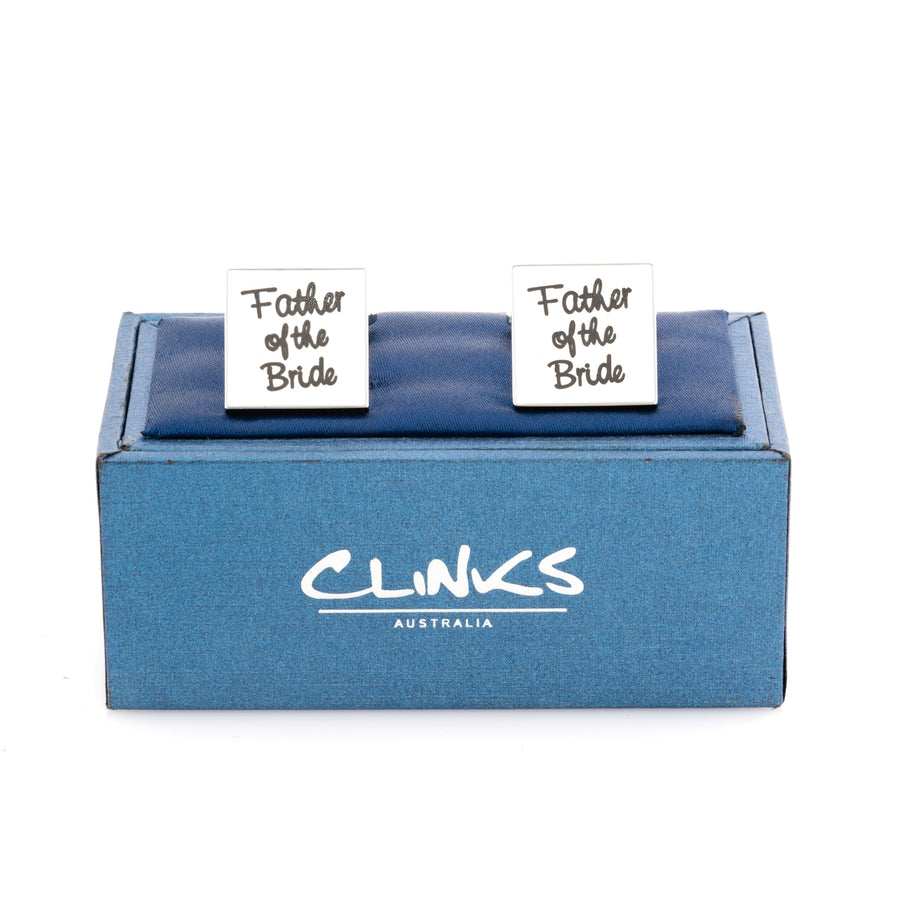 Father of the Bride White Cufflinks