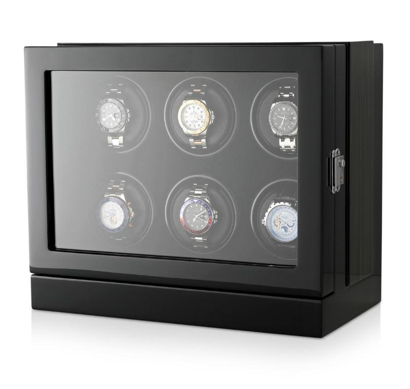 Watch Winder Box for 6 Watches in Black