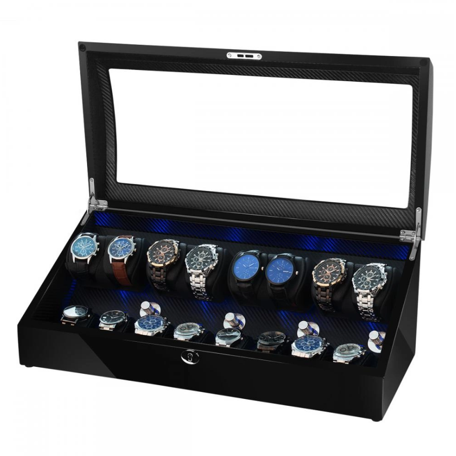 Watch Winder Box for 8 + 8 Watches in Black
