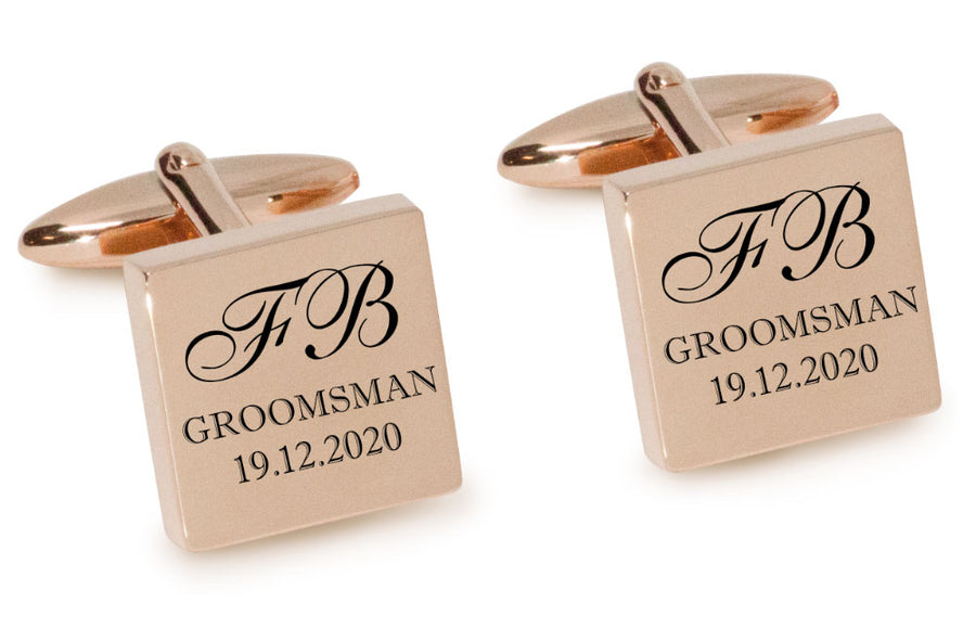 Initials with Wedding Role + Date Engraved Cufflinks