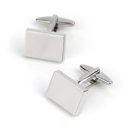 Shiny Silver Rectangle Engraveable Cufflinks