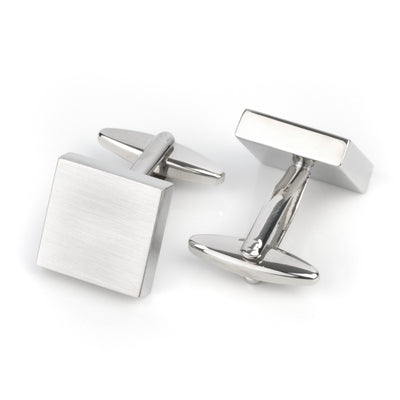 Brush Silver Square Engravable Cufflinks