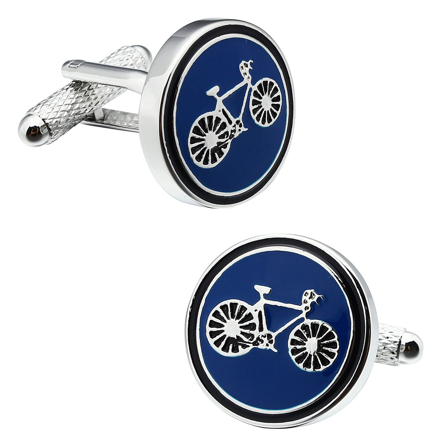 Round Bicycle Blue Cufflinks