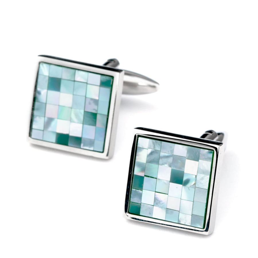Blue Mother of Pearl Mosaic Square Cufflinks