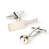 Silver and Gold Cricket Ball and Bat Cufflinks
