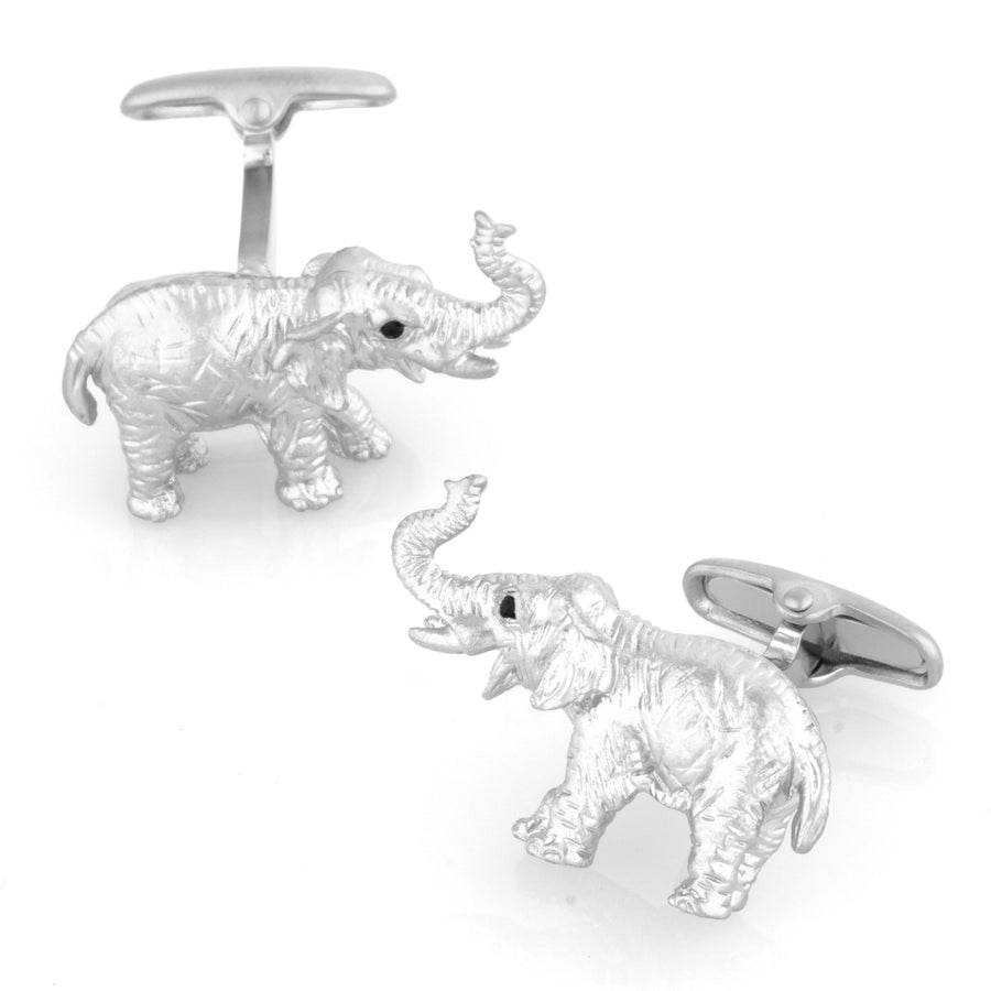 Brushed Silver Elephant Cufflinks