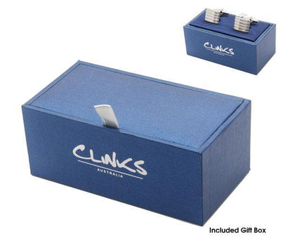 Classic Brushed Silver Black Line Cufflinks