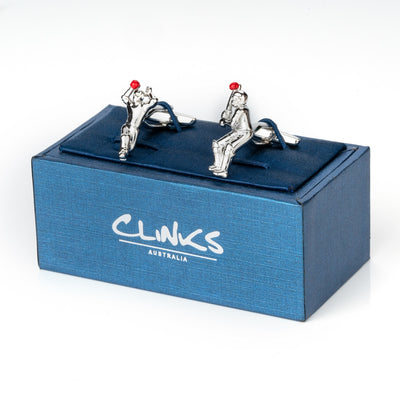 Cricket Bowler and Batter Silver Cufflinks