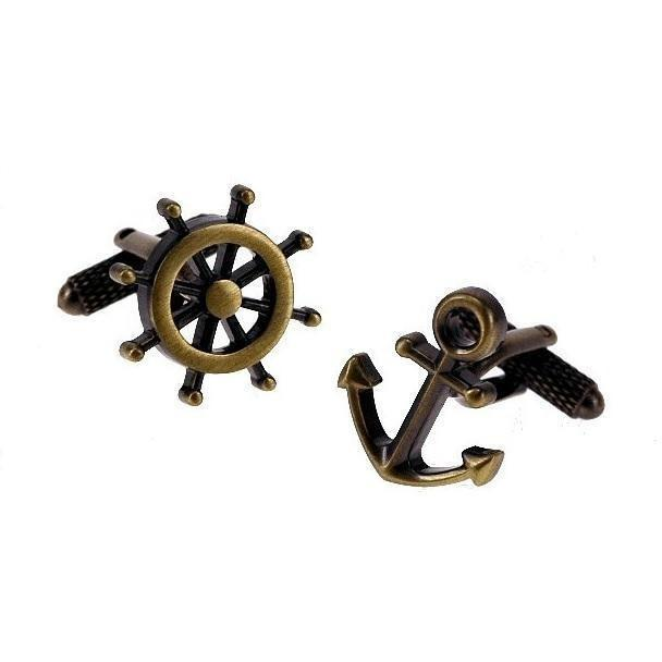 Anchor and Wheel - Burnished Gold - Cufflinks