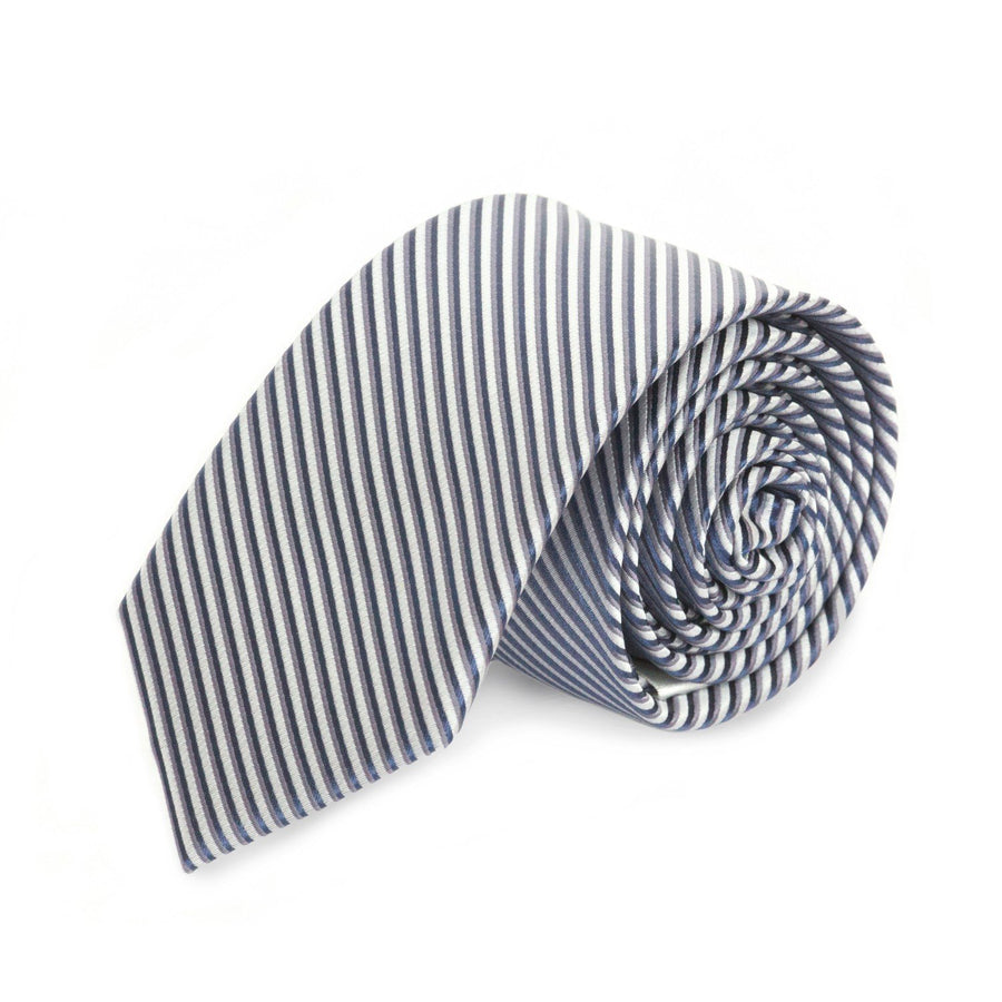 Silver and Navy Stripe MF Tie