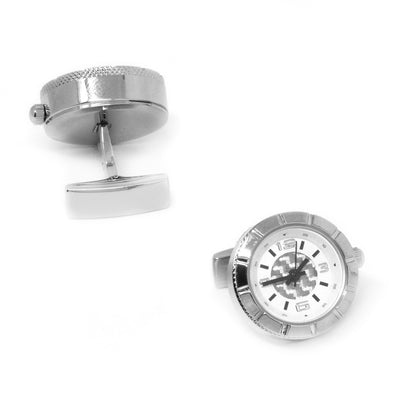 Round Silver Carbon Fibre Working Watch Clock Cufflinks