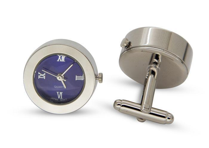 Round Blue Faced Working Clock Watch Cufflinks