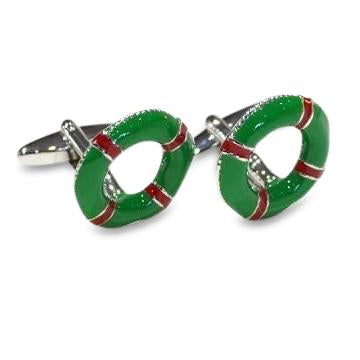 Life Ring Green and Red Cufflinks