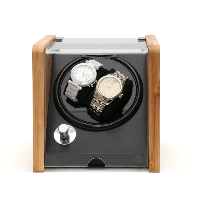 Bamboo/Black Watch Winder Box for 2 Watches