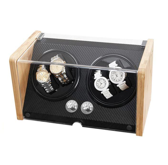 Bamboo/Black Watch Winder Box for 4 Watches