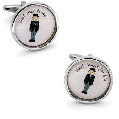 Best Man Best Friend Cartooned Round Wedding Cufflinks