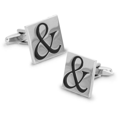 Black Ampersand & Symbol on Silver Square Cufflinks
