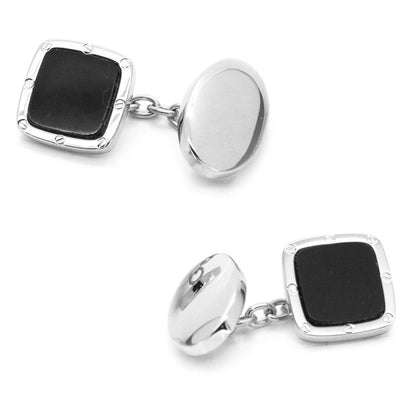 Black Square with Chain and Oval Back Cufflinks